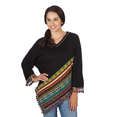 Women's Southwestern Black Sweater Poncho With Sleeves - Large (Cheap Mexican Ponchos)