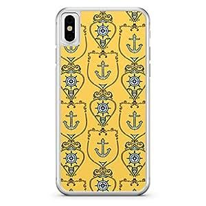 Apple iPhone X Transparent Edge Yellow Nautical Pattern - Multi Color