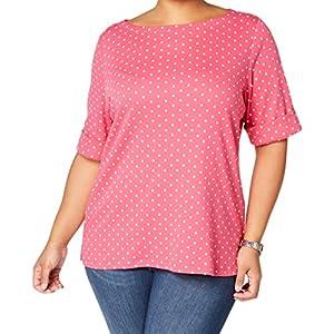 Karen Scott Womens Plus Elbow Sleeves Polka Dot T-Shirt Pink US 0X