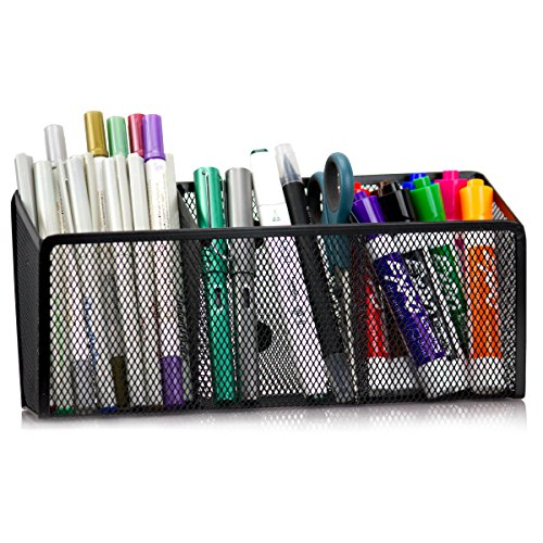 Workablez Magnetic Pencil Holder - 3 Generous Compartments Magnetic Storage Basket Organizer - Extra Strong Magnets - Perfect Mesh Pen Holder to Hold Whiteboard, Locker Accessories