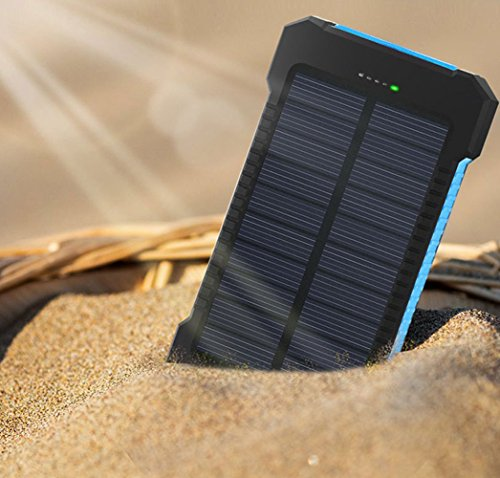 MeliTech Solar Charger 20000mAh Portable Solar Power Bank External Battery Pack Dual USB with LED Flashlight and Compass for Smartphones Tablet Camera (Black& Blue) by MeliTech (Image #5)