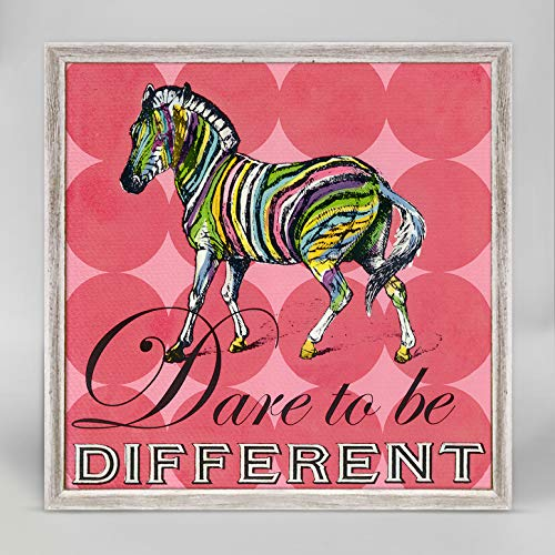 Oopsy Daisy Room Decor & Wall Art for Kids Dare to Be Different- Zebra by Shelly Kennedy - Rustic White Mini Framed Canvas - 6