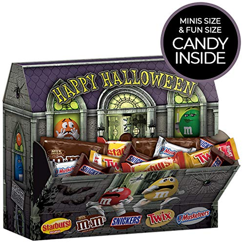 SNICKERS, TWIX, 3 MUSKETEERS, STARBURST & Milk Chocolate M&M'S Haunted House Halloween Candy 60.4 Ounce Bag