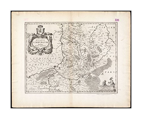 1635 Wall Map: historical Duchy of Limburg in present day Belgium & Netherlands|Ready to Frame|Historic Antique Vintage Reprint (Limburg Light)