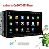 New Developed Android 7.1 Nougat Car Radio Stereo Automotive Sliding 7 inch Screen double 2 din Car DVD CD Player in dash Navigator with GPS Map Handsfree Bluetooth Wifi/4G Net