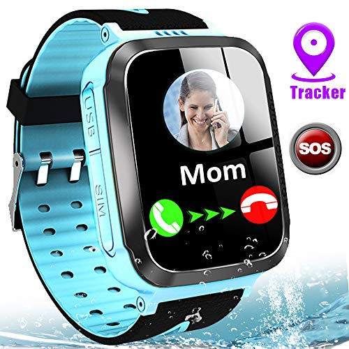 """Kids Smart Watches for Girls Boys GPS Tracker IP67 Waterproof Smartwatch Phone Two Way Call SOS Camera Math Game Voice Chat Alarm Clock LED Flashlight 1.44"""" Touch Screen Christmas Birthday Gift"""