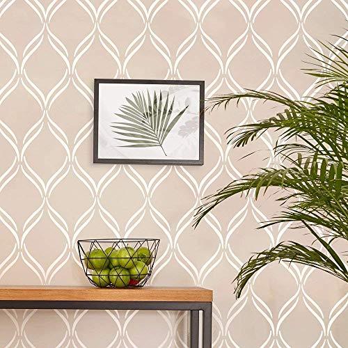 "Twist Lattice Large Wall Stencil for Painting - XL Size 24""x37.5"" - Reusable Lattice Wall Stencil"