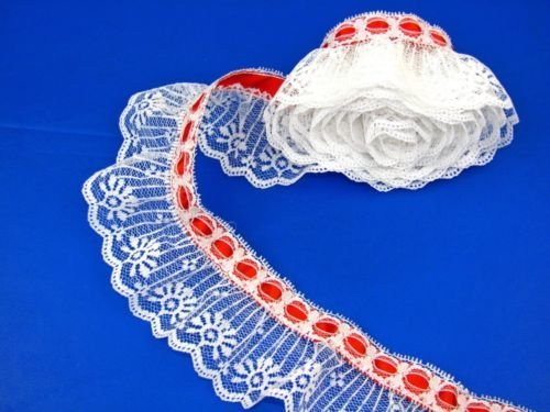 Ruffled Edging (Very pretty Lace Trim Bulk White Ruffled Candlewick Lace Trim with Red Ribbon Top~By 5 Yards, Material Polyester)