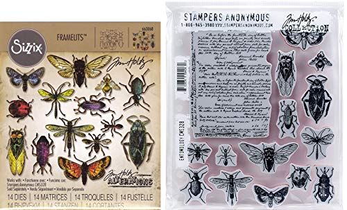 Tim Holtz Entomology - Stampers Anonymous Cling Stamps and Sizzix Framelits Die Set - Two Item -