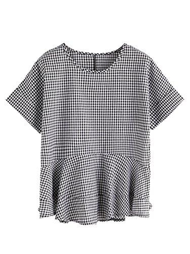 SheIn Women's Loose Ruffle Hem Peplum Short Sleeve Blouse Top One-size Gingham