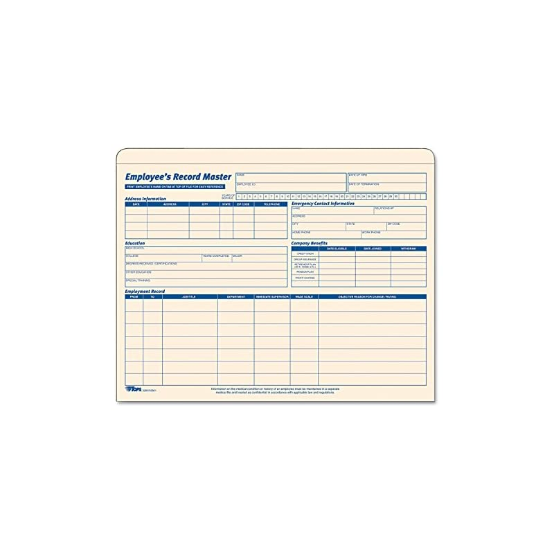 TOPS Employee Record Master File Jacket,