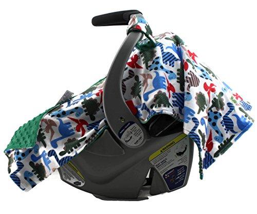 Dear Baby Gear Deluxe Carseat Canopy, Minky Print Dinosaur Polka Dot on Green