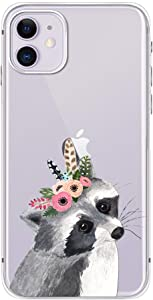 FancyCase Compatible with iPhone 11-New Animal Style Soft Silicone Protective Clear iPhone 11 Case (Flower Raccoon)
