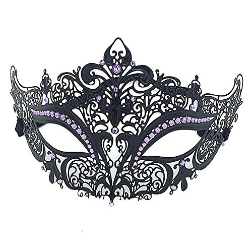 Rehoty Womens Masquerade Mask Metal Rhinestone Venetian Halloween Christmas Party Evening Prom Mask (Black+Light Purple)