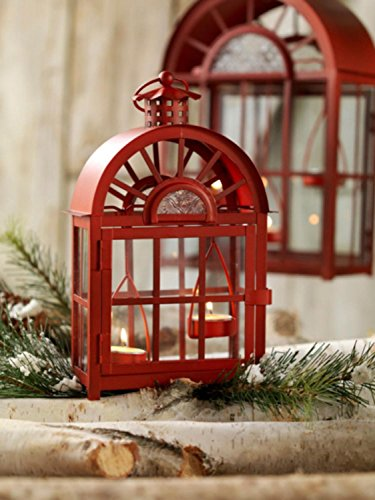 Set of 3 Eco Country Red Christmas Tea Light Candle Lanterns by Melrose (Image #4)