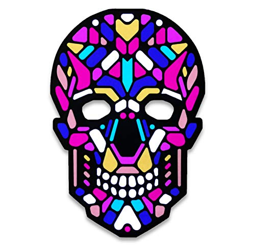 Official Dia de Muertos Skull Sound Reactive LED Mask by Outline Montréal perfect for Halloween, Cosplay Events and Music Festivals - A Wearable Lightshow (Sugar Skull MC)   ()