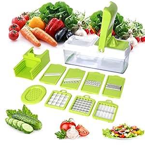 10 en 1 Multiusos Mandolina de Verduras Cortador de Patatas con 7pza Cuchillas y Exprimidor para Frutas Verduras Picadora de Alimentos -Duomishu …