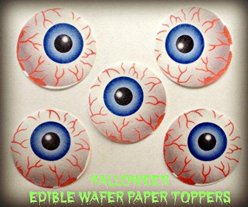 12 HALLOWEEN SCARY BLOODSHOT MONSTER EYEBALLS EYES Decorative Wafer Paper Toppers© Cakes Cupcakes (Eyeball Cupcakes Halloween)