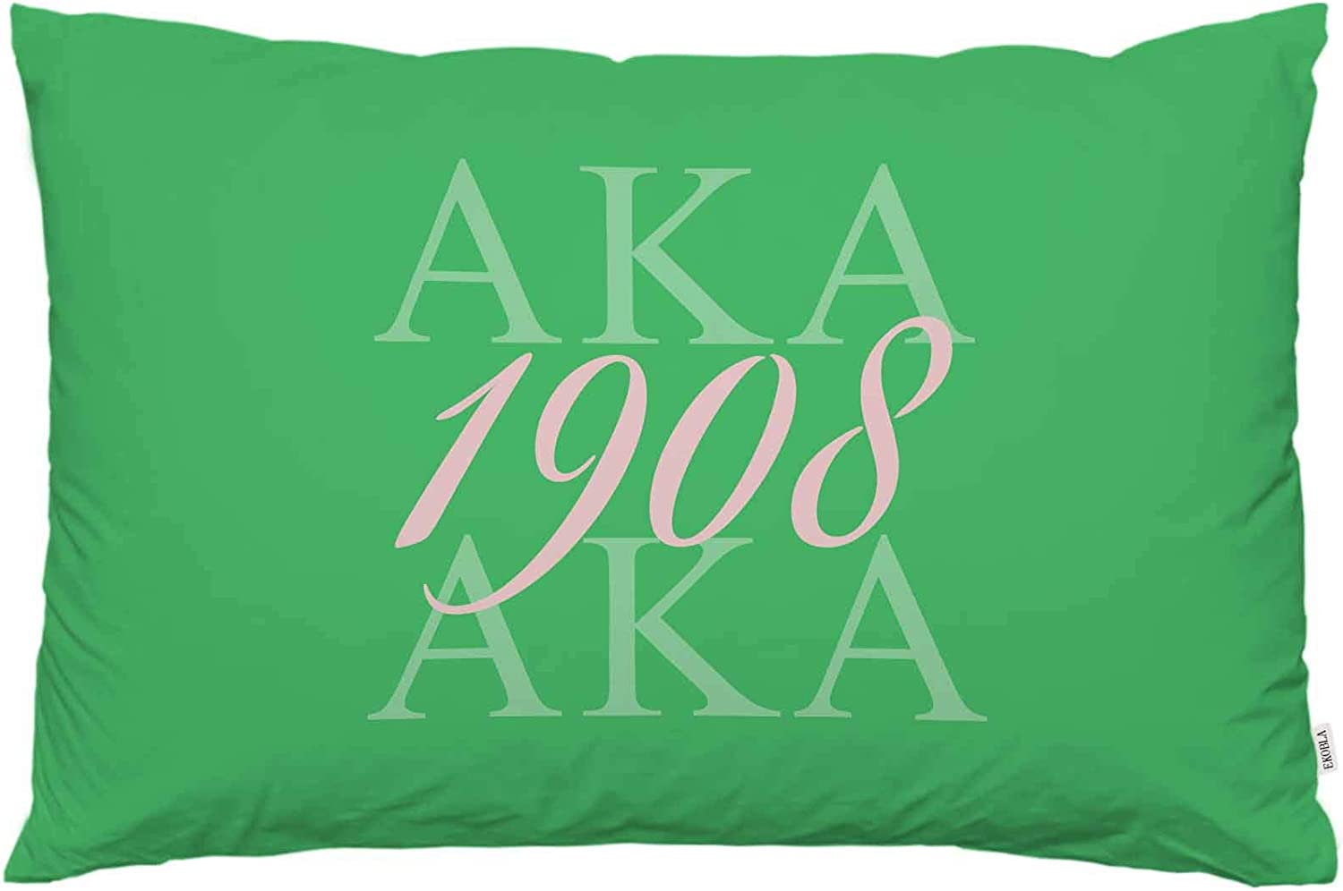 EKOBLA Throw Pillow Cover AKA 1908 As Known As Abbreviation Cool Design Art Hip Hop Style Green Pink Color Abstract Decor Lumbar Pillow Case Cushion for Sofa Couch Bed Standard Queen Size 20x30 Inch