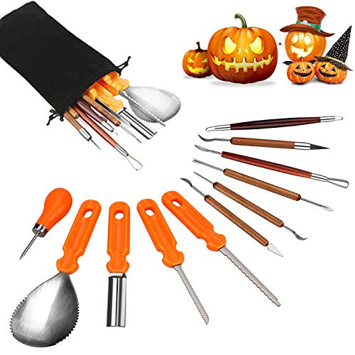 Halloween Pumpkin Carving Tools, Halloween Jack-O-Lanterns 11 Piece Professional Stainless Steel Pumpkin Carving Kit, Pumpkin Cutting Supplies Tools Kit for Adults Kids