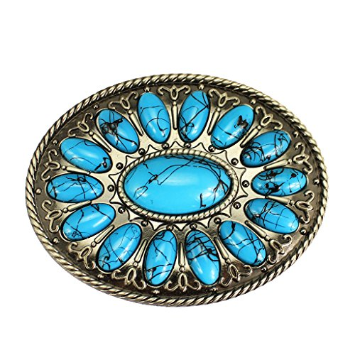 - Jili Online Classic Mens Turquoise Beads Belt Buckle Western Cowboy Accessory