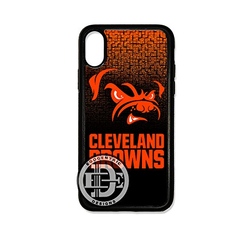 - (iPhone Xs) EGOCENTRIC DESIGN & CO. Browns Football Sports TPU Rubber Silicone Case