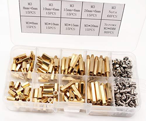M3 Male-Female Brass Thread Hex Standoff Spacer Screws & Nut Assorted Kit,Threaded Pillar PCB Motherboard Assortment Kit 260Pcs