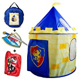Nona Active Knight Castle - Play Tent for Kids with Vibrant Colors - Super Easy Setup - Better Air Circulation - 2 Bonuses: Sword and Shield, and a Knight Cape