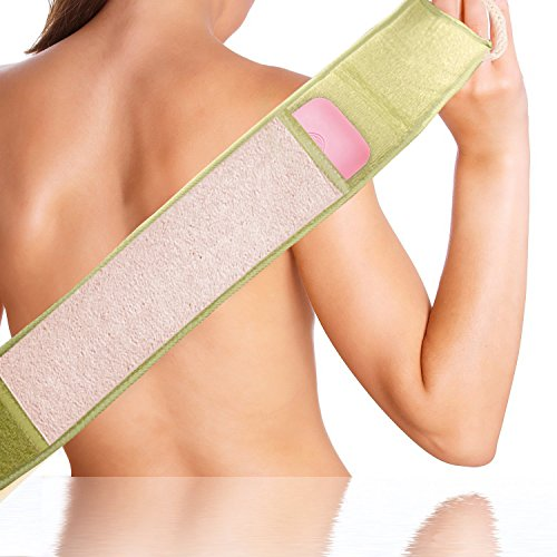 Exfoliante y depurador de loofahde ducha para la piel de la espalda con esponja de limpieza para el cuello incluida.