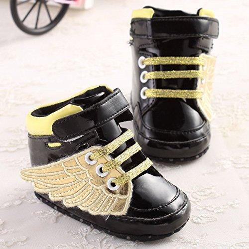 Bluelover Golden Black Wings Cool Culla Ragazzo Ragazza Toddler Scarpe – Nero 6-12M Prezzi