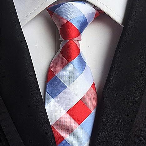 HYCZJH Corbata de Tela Escocesa para Hombre, Corbata de Rayas Azul ...