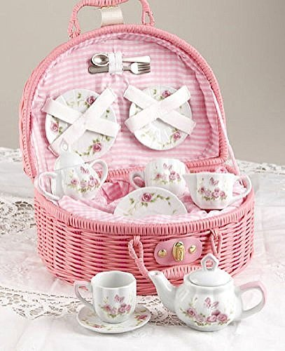 Delton Products Rose Tea Set for 2, Pink ()