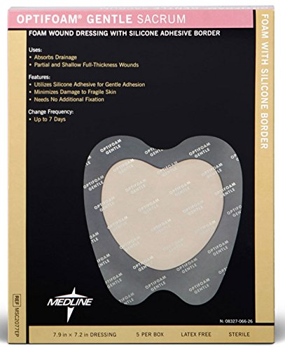 Medline Optifoam Adhesive (Medline MSC2077EPH OptiFoam Gentle Border Adhesive Dressings, 7X7