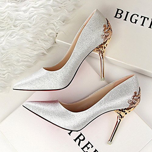 Shoes Shoes Sharp silvery Wedding 10Cm Suede Heels Single Metal KPHY Shoes Hollow Shoes Women Sanding Bride Icq8U