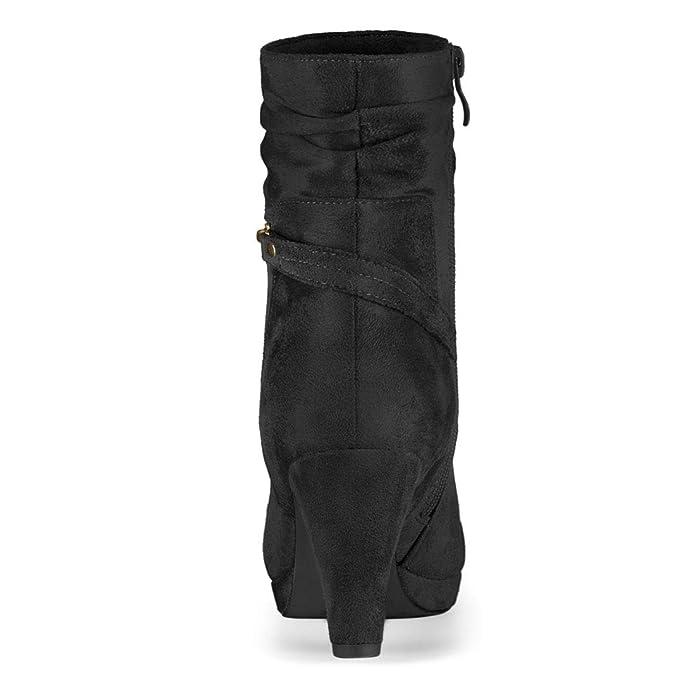 Allegra K Botas De Tobillo con Cremallera Y Tacón Alto A Media Pierna para Mujeres: Amazon.es: Zapatos y complementos