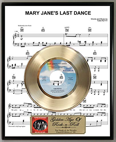 Dance 45 Rpm Records - G.A.R.R. Tom Petty Mary Jane's Last Dance Limited Edition 45 RPM Gold Record Sheet Music Poster Art Display with Original Reproduction Sleeve Art & Record Label