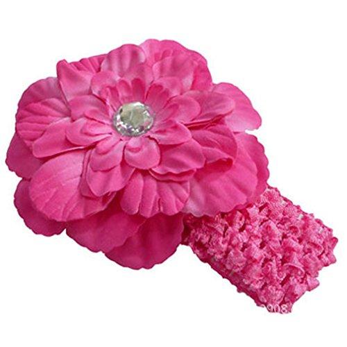 YAZILIND Cute Various Color Peony Kids Baby Girls Rose Red Headband Hairbow Hair Flower Clip Headwear