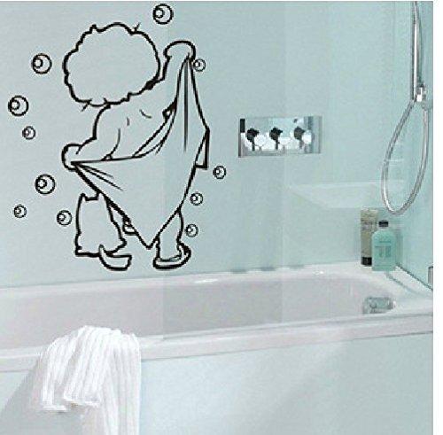 FairyTeller Lovely Baby Love Shower Bathroom Bubble Wall Stickers Glass Door Stickers Cute Children Shower Decals Poster