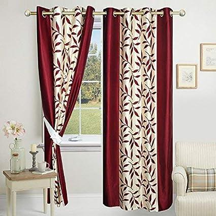 Impeccable Home Kolaveri 2 Piece Eyelet Polyester Door Curtain Set - 7ft, Maroon