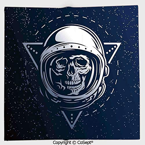 (Quick-Dry Square Towel,Dead Skull Icon Cosmonaut Helmet Astronomy Terrestrial Horror Image,Highly Absorbent Cleaning(13.77x13.77 inch),Grey Blue)