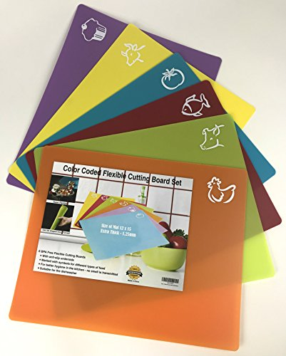 Set of 6 Color Coded Flexible Plastic Cutting Boards for Kitchen with Food Logos (12x15) - BPA Free, Anti-Slip