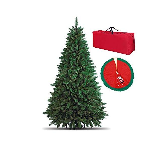 Totò Piccinni Albero di Natale Artificiale, 210 cm (1078 Rami) Borsone e Copribase, FOLTO di ALTISSIMA QUALITA', Effetto Realistico, Rami a Gancio, Facile Montaggio, PVC, Base Metallica, Ignifugo 1 spesavip