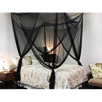 Black Four Corner Canopy Bed Netting Mosquito Net Full Queen King Size Bedding  sc 1 st  Amazon.com & Amazon.com: Black Four Corner Canopy Bed Netting Mosquito Net Full ...