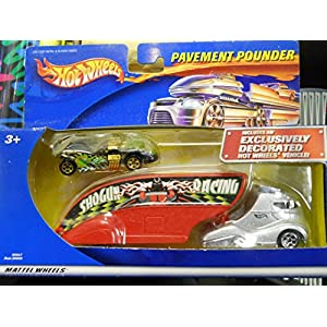 Hot Wheels - Limited Edition Pavement Pounder Transport Rig (Tractor/Trailer) Replica with Exclusively Decorated Hot Wheels Vehicle Replica