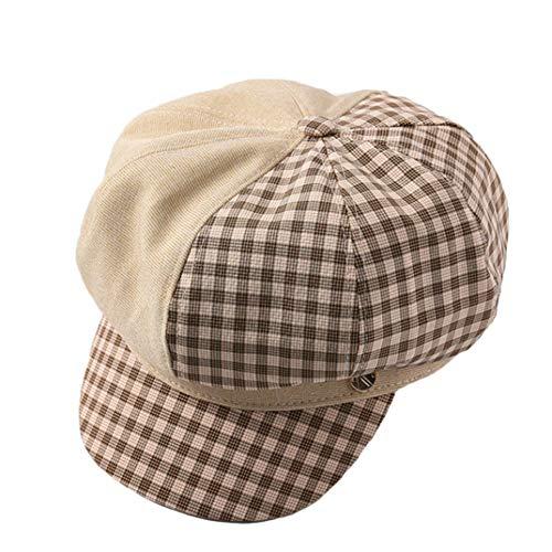 Spring Casual Newsboy Caps Plaid Octagonal Hat Patchwork Striped Duckbill Baker Boy Hat