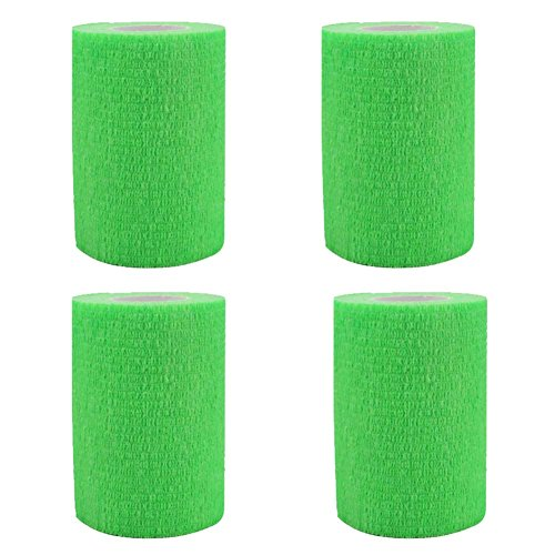 Green Woven Fabric - GouGou 4 Rolls Self-Adhesive Bandage First Aid Tape Non-woven Ventilate Flexible Strong Elastic Wrap for Ankle Waist Knee Elbow Athletic Sports Pets Medical Support 3 Inch X 5 Yds (Fluorescent green)