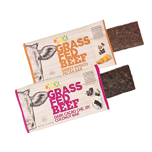 DNX Bar Grass Fed Beef Dark Cacao Cherry Coconut and Sweet Potato Pecan Whole Food Protein Bar Whole30 Approved Nutrition. Organic Fruits and Veggies. NO Preservatives (8 - Cherry Pecan