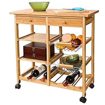 SoBuy® FKW06 - Mueble de almacenaje para cocina con ruedas, carrito camarera con ruedas (bambú, 72 × 37 × 75,5 cm): Amazon.es: Hogar