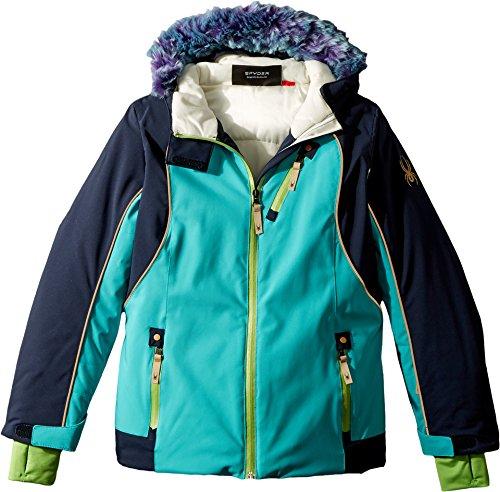 Spyder Kids Girl's Posh Faux Fur Jacket (Big Kids) Baltic/Frontier 14 by Spyder