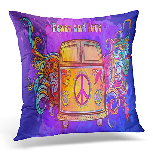 DTTOT Throw Pillow Cover Hippie Vintage Car Mini Van Ornamental Love and Music with Hand Written Fonts Doodle and Hippy Color Decorative Pillow Case Home Decor Square 18x18 Inches Pillowcase (Van Hippy)